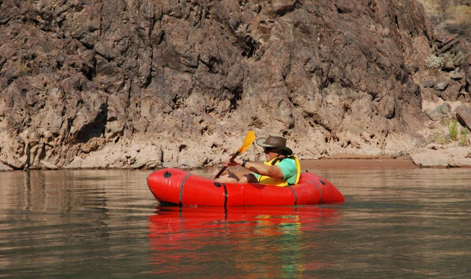 Man packrafting on the Colorado River Bass Rim to Rim